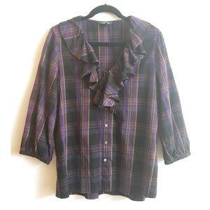 Lauren Jeans Co Plaid Long Sleeve Shirt Ruffle M